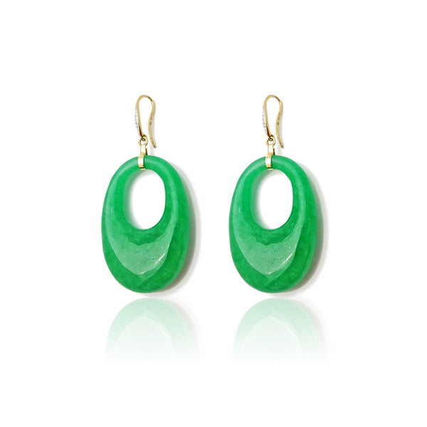 Jade Hoops Hanging Earrings (14K) Popular Jewelry New York