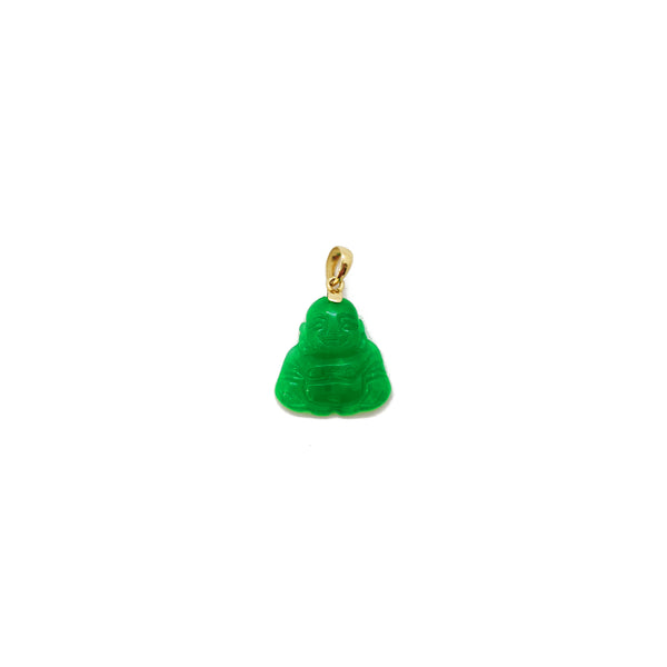 Pendant Jade Laughing Bouddha (14K) 14 Gold Karat jòn, Popular Jewelry New York