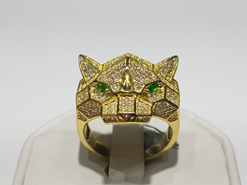 Jaguar Panther Head сақина күміс (сары) - Popular Jewelry