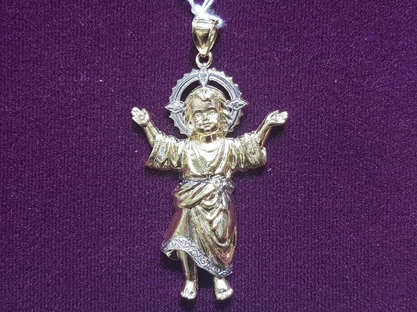 Baby Jesus White Halo Pendant 14K - Lucky Diamond 恆福珠寶金行 New York City 169 Canal Street 10013 Jewelry store Playboi Charlie Chinatown @luckydiamondny 2124311180
