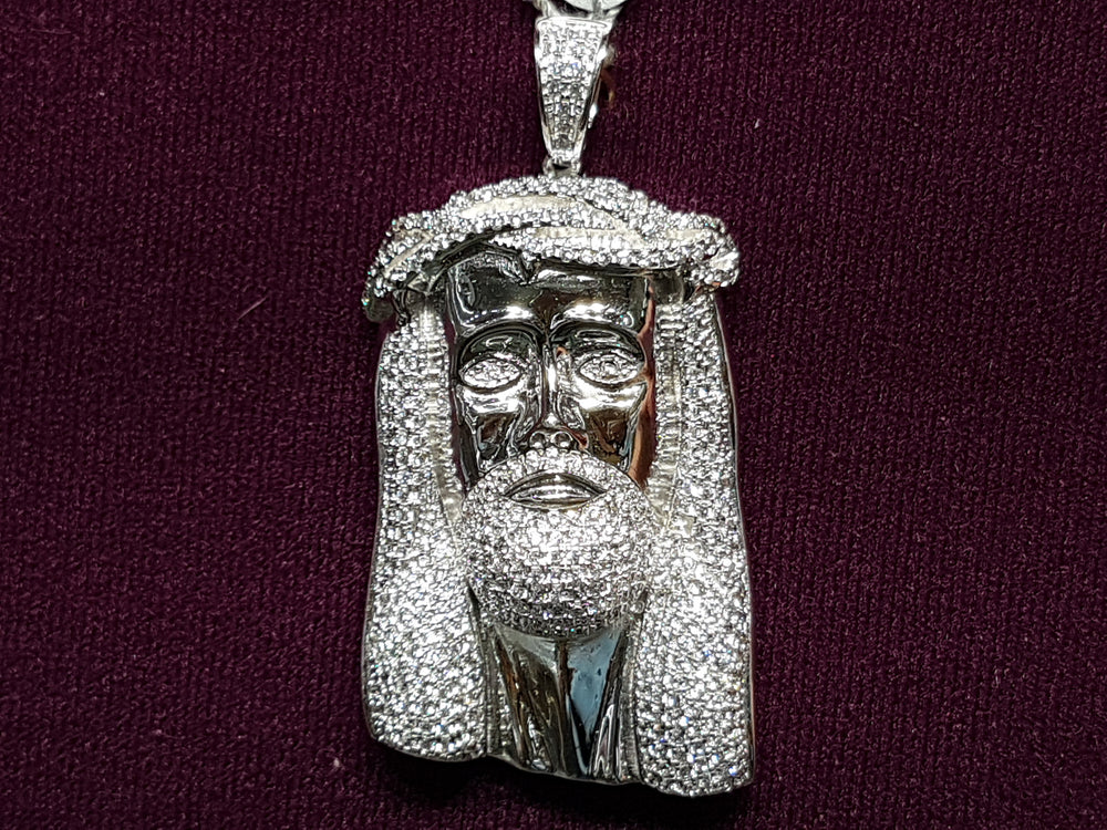 Iced-Out Jesus Head Silver - Popular Jewelry