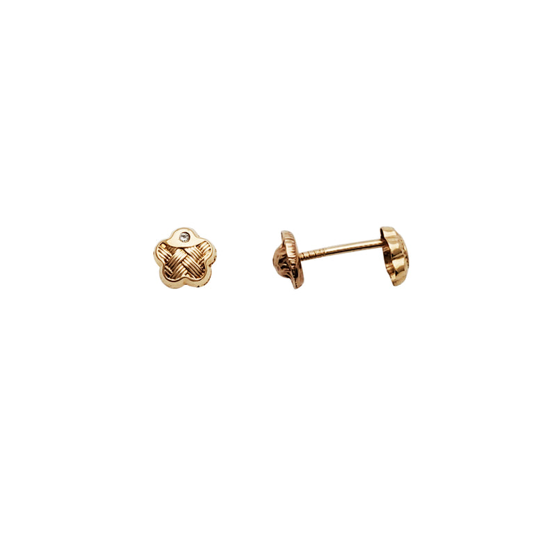 Knotted Flower CZ Stud Earrings (14K)
