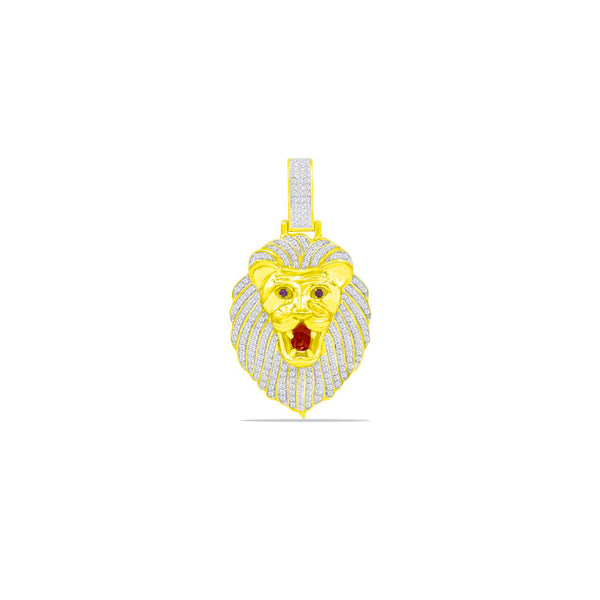 Iced-Out with Red Stone Lion Diamond Head Pendant (10K)