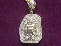 Iced Out Aura Laughing Buddha Pendant 10 Karat Yellow Gold