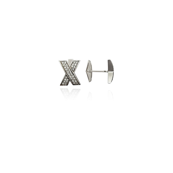 Letter X CZ Cuff Link (Silver) New York Popular Jewelry