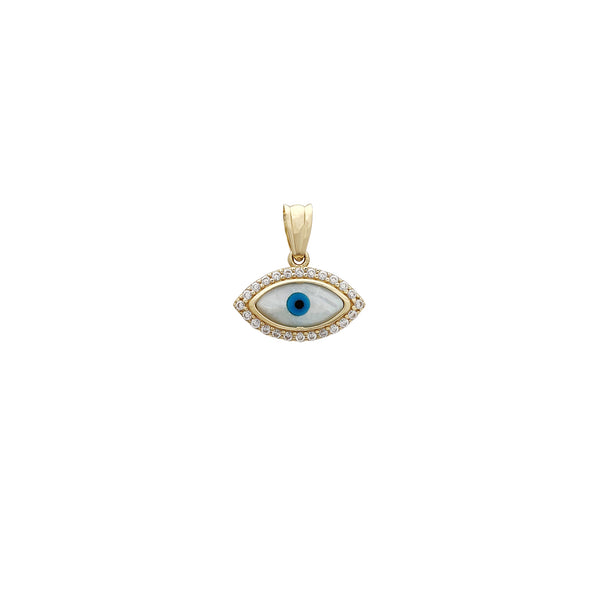 Light Blue Halo Stone-Set Evil Eye Pendant (14K) Popular Jewelry New York