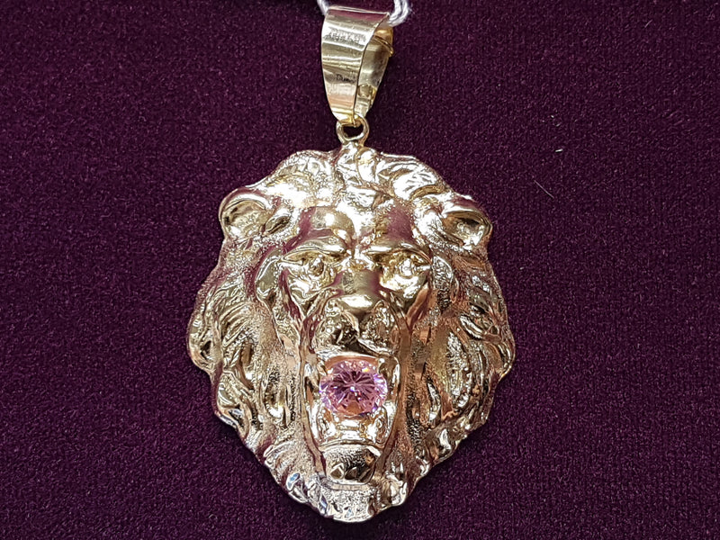 Roaring Lion Head Pendant CZ 14K - Popular Jewelry