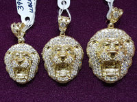 CZ Lion Head Pendant 14K - Popular Jewelry