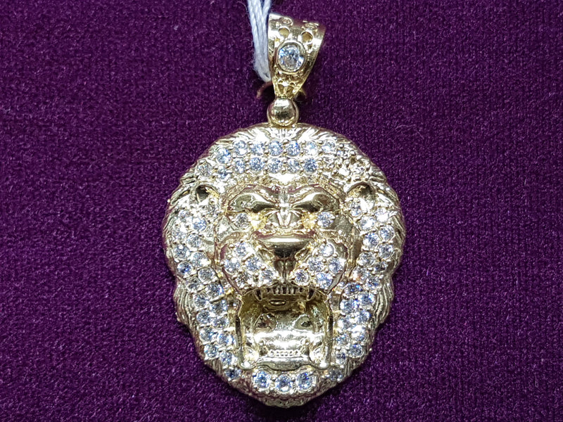 Iced-Out Lion Head Pendant 14K - Lucky Diamond 恆福珠寶金行 New York City 169 Canal Street 10013 Jewelry store Playboi Charlie Chinatown @luckydiamondny 2124311180