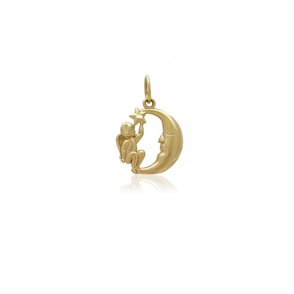 Little Angel on the Moon Pendant (14K) Popular Jewelry New York