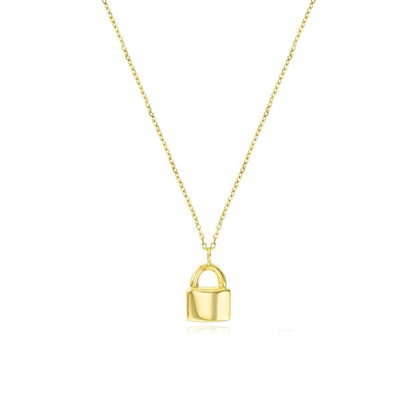 Cable-Link Lock Necklace (14K)