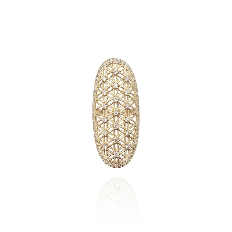 Long Finger Cocktail CZ Ring (14K)