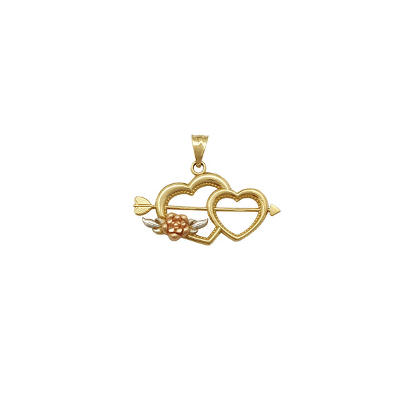 Love & Rose Heart with Arrow Pendant (14K)