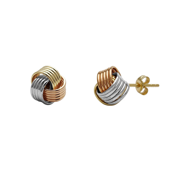Tricolor Love Knot Five-Thread Stud Earrings (14K) Popular Jewelry New York