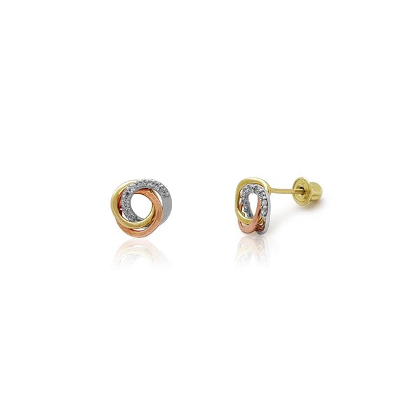 Tri-Color Love Knot Stud Earrings (14K) Popular Jewelry New York