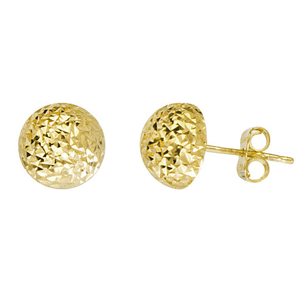 Faceted Half Ball Stud Earrings (14K)