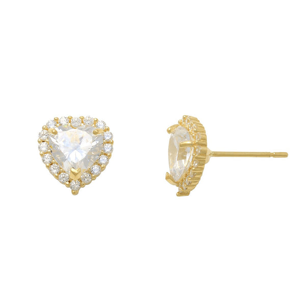 Zirconia Heart Halo Stud Earrings (14K)