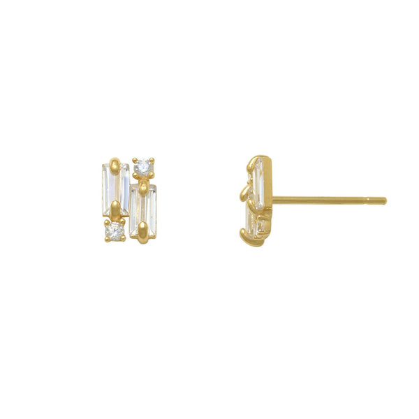 Zirconia Baguettes & Round Stud Earrings (14K)