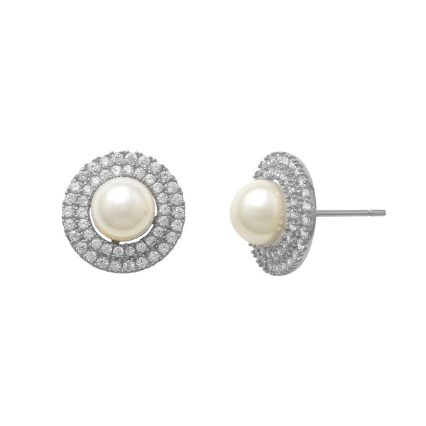 Zirconia & Pearl Stud Earrings (14K)