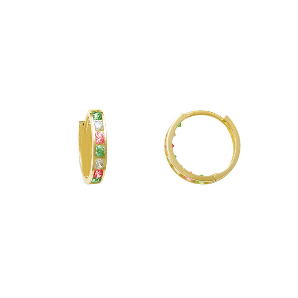Zirconia Green-Red-White Huggie Earrings (14K)
