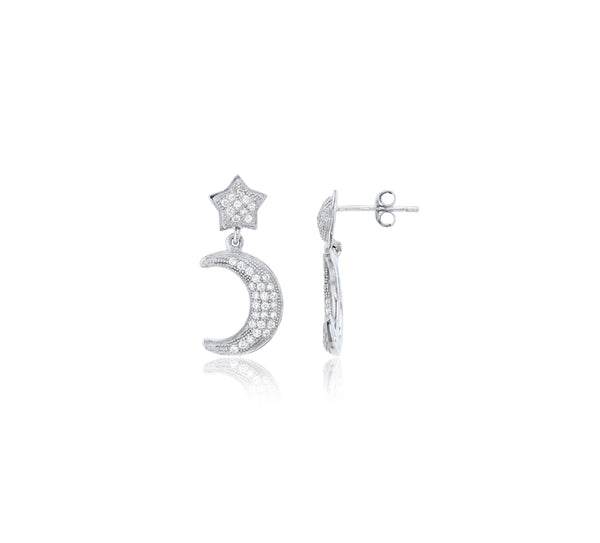 Dangling Star & Moon Micropave Dangling Earrings (Silver)