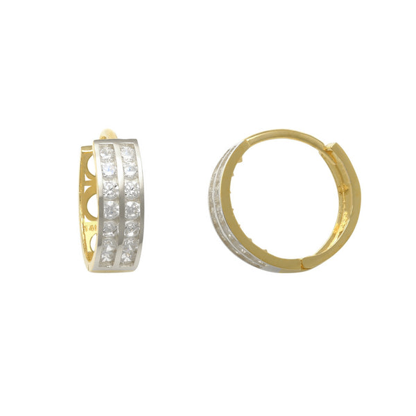 Zirconia 2-Row Huggie Earrings (14K)