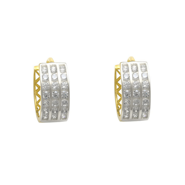 Zirconia 3-Row Huggie Earrings (14K) Popular Jewelry New York