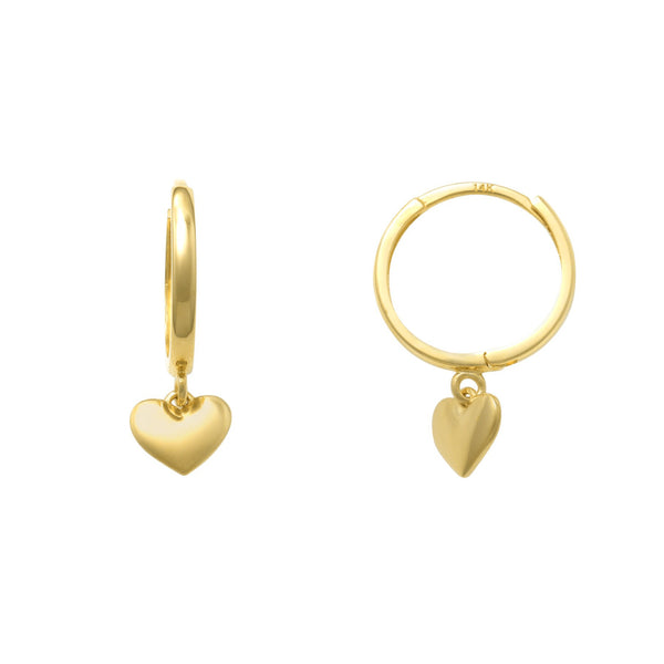 Heart Hanging Huggie Earrings (14K)