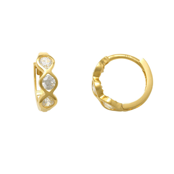 Zirconia Bezel Huggie Earrings (14K) Popular Jewelry New York