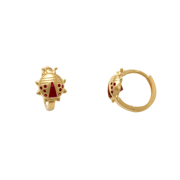 Zirconia Ladybug Huggie Earrings (14K)