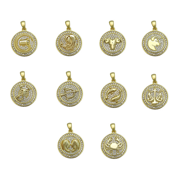 Main Zodiac Sign Medallion Pendant (Silver) Popular Jewelry New York