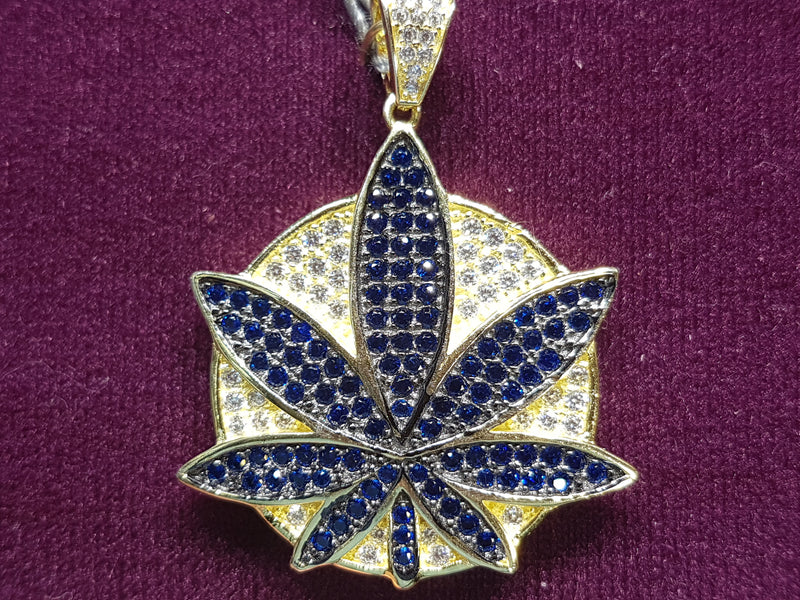 Marijuana-Medallion-Iced-Icy-CZ-Micropavé-Pendant-Blue-Silver - Popular Jewelry