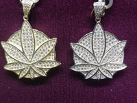 Marijuana-Medallion-Iced-Icy-CZ-Micropavé-Pendant-Front-Silver - Popular Jewelry