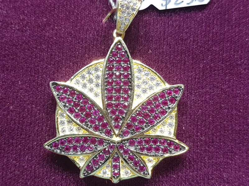 Marijuana-Medallion-Iced-Icy-CZ-Micropavé-Pendant-Purple-Silver - Popular Jewelry