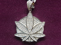 Marijuana-Medallion-Iced-Icy-CZ-Micropavé-Pendant-White-Silver - Popular Jewelry