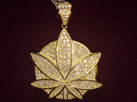 Marijuana-Medallion-Iced-Icy-CZ-Micropavé-Pendant-Yellow-Silver - Popular Jewelry