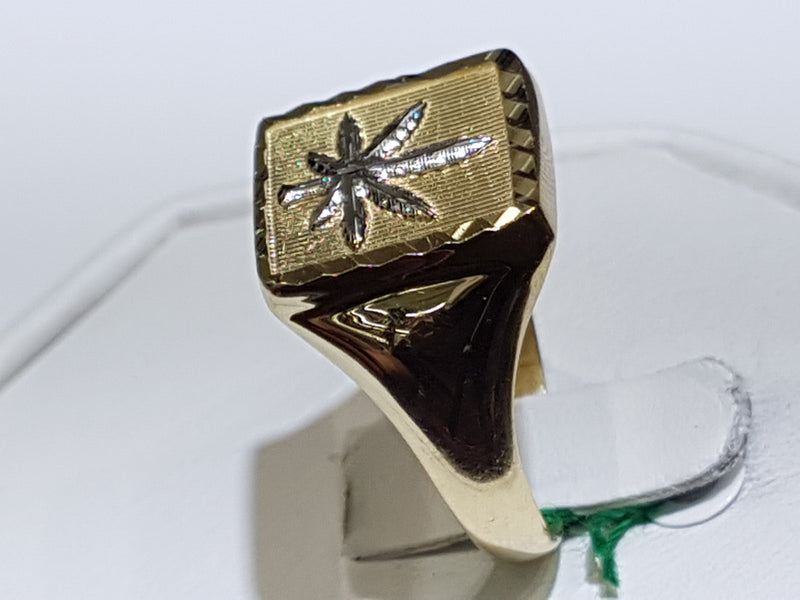 Marijuana Signet Ring 14K - Popular Jewelry