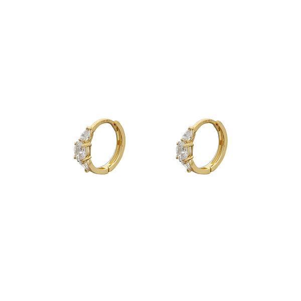 Marquise Stone-Set Huggie Earrings (14K) Popular Jewelry Nûyork