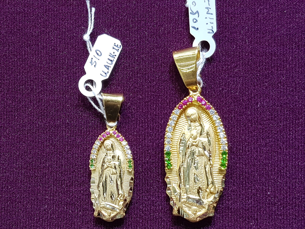 "Full Back Virgin ""Guadalupe"" Pendant 14K - Popular Jewelry"