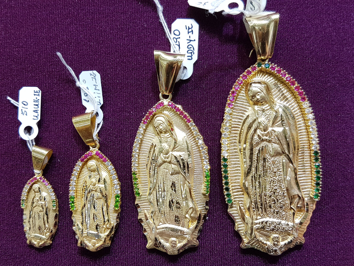 Virgin mary lady of guadalupe pendant 14k popular jewelry full back virgin guadalupe pendant 14k popular jewelry mozeypictures Choice Image