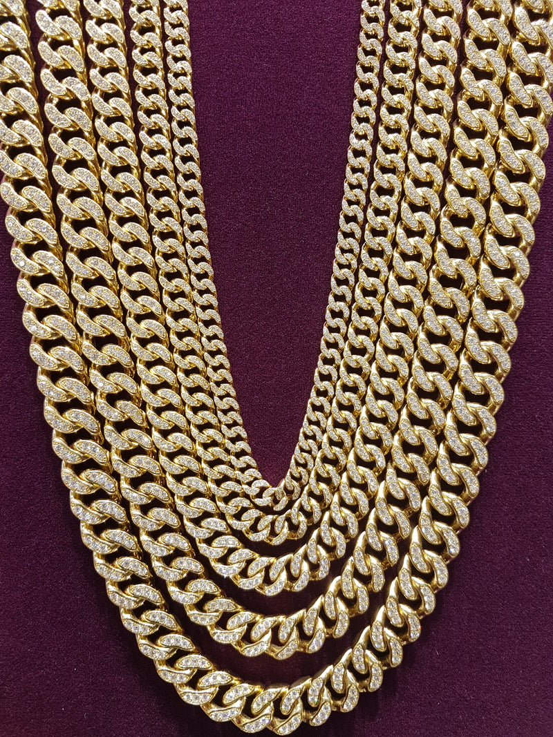Icy Miami Cubanlink Necklace 14K - Lucky Diamond 恆福珠寶金行 New York City 169 Canal Street 10013 Jewelry store Playboi Charlie Chinatown @luckydiamondny 2124311180