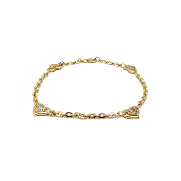 Micro Pave Heart Anklet (14K) 14 Karat Yellow Gold, Cubic Zirconia, Popular Jewelry New York