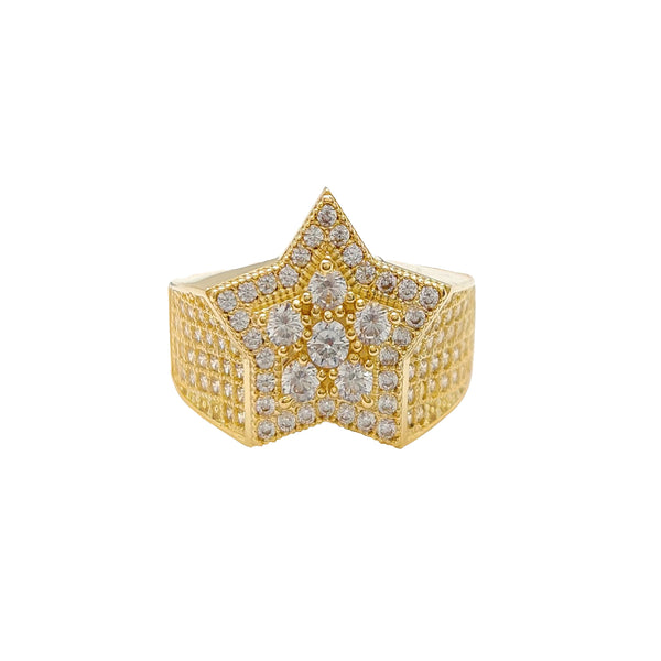 Micropave Double Star Ring (10K) Popular Jewelry New York
