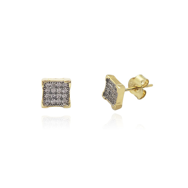 Micro Pave kare panèl CZ Stud Earrings (Silver) Popular Jewelry New York