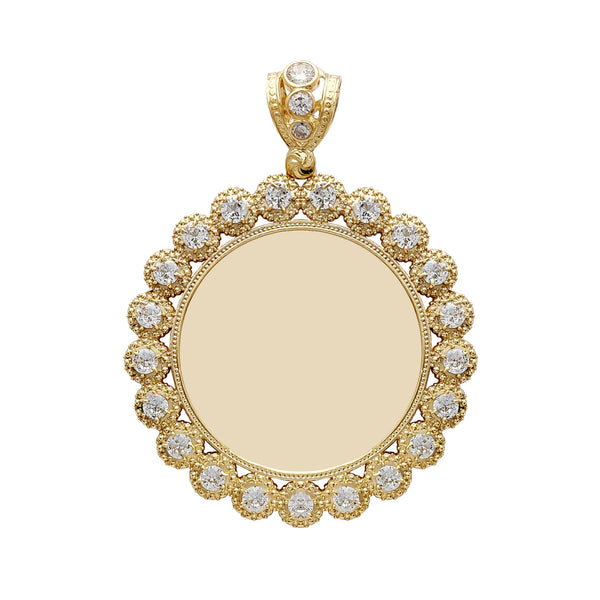 Large Size Milgrain Budded Frame Round Medallion Picture Pendant (14K) Popular Jewelry New York