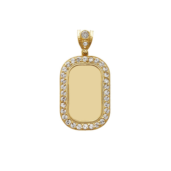 Milgrain Iced-Out Border Dog Tag Picture Pendant (14K) Popular Jewelry New York