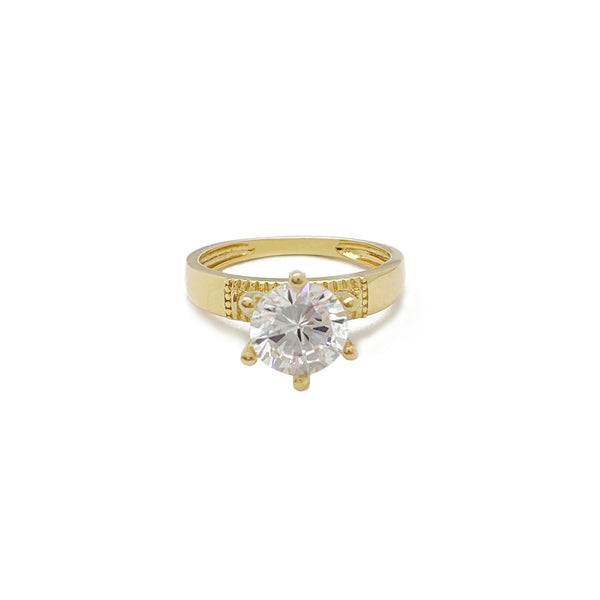 Cubic Zirconia Beaded Fold Engagement Ring (10K)