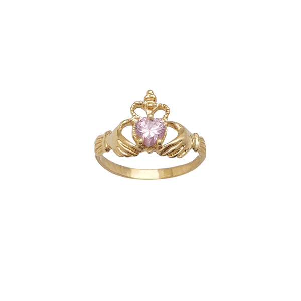 Milgrained Crown Pink Stone Set Claddagh Ring (14K) Popular Jewelry New York