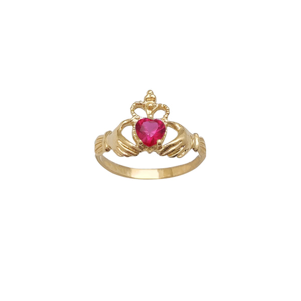 Milgrained Crown Red Stone Set Claddagh Ring (14K) Popular Jewelry New York