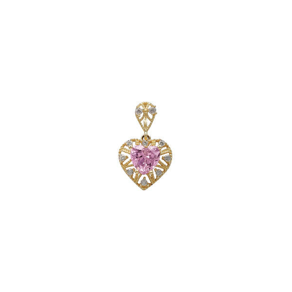Milgrained Heart Stone Pendant (14K) Popular Jewelry New York